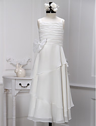 Lanting Bride ® Sheath / Column Ankle-length Flower Girl Dress - Chiffon Sleeveless Straps with Bow(s) / Ruching