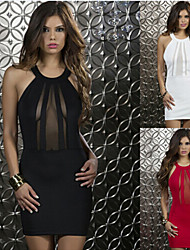 Robes ( Maille ) Sexy / Bodycon / Informel / Dentelle / Soirée Epaule dégagée à Sans manche pour Femme