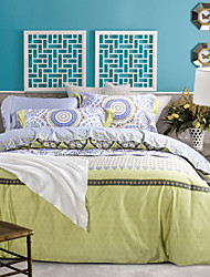 Green Abstract Bamboo Pattern Cotton Bedding Set 4-Piece