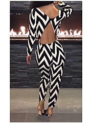 Women's Loose Jumpsuits,Going out Sexy Striped V Neck Long Sleeve Mid Rise All Seasons