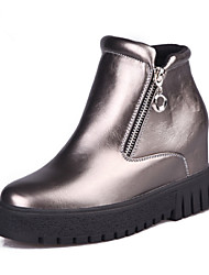 Womens Shoes Upper Round Top Inside Increased Short Boots Free Style Silver / Black / Wine Red