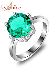 Lucky Shine Classic 925 Silver Fire Round Blue Topaz Green Amethyst Crystal Gemstone Crown Rings For Friend Holiday Gift