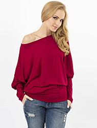 Tee-shirt Aux femmes,Couleur Pleine Sexy Automne Manches Longues Col Arrondi Rouge / Gris / Vert Coton Opaque