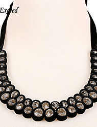 D exceed  Black Silk Rope White Rhinestones Choker Necklace for Ladies High Quality Fashion Statement Necklaces