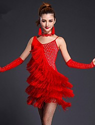 Latin Dance Dresses Women's Performance Milk Fiber Tassel(s) 1 Piece Black / Blue / Fuchsia / Red