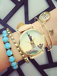 Men's Women's Unisex Fashion Watch Bracelet Watch Quartz Chronograph PU Band Black White Pink Beige Brand