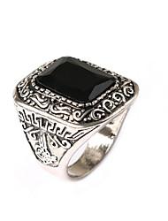 New Vintage Jewelry Men's Square Turquoise Gem Rhinestone Ring