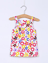 Girl's Multi-color Dress , Floral Cotton Summer