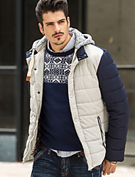 Large Size Patchwork Wool Hooded Winter Jacket Men Brand XXL Stand Cotton Parka 3Color Winter Jacket 2015 New