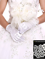 Black/White Ladies' Elbow Length Glove Party/Evening Fingertips Glove Opera Length+DIY Pearls and Rhinestones