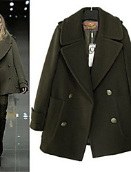 Women's Solid Color Blue / Black / Green Plus Size Coats & Jackets , Casual V-Neck Long Sleeve