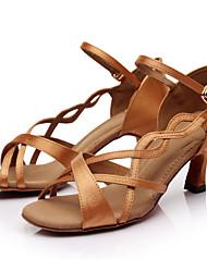 Customizable Women's Girl's Dance Shoes Latin / Salsa / Samba / ballroom SANDALS Satin Black/BROWN/RED