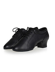 Women's / Men's Dance Shoes Belly / Latin / Jazz / Dance Sneakers / Modern / Samba Leather / Synthetic Chunky Heel Black