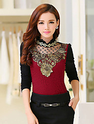 Women's Lace Red / Black Shirt , Stand Long Sleeve
