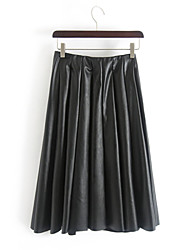 Women Faux Leather Skirt , Lined