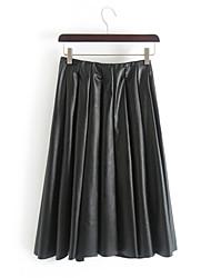 Falda Mujer - Cuero Sintético Con Forro