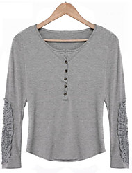 Unni Women's Solid Color Gray T-Shirts , Casual Round Long Sleeve