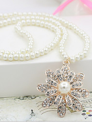 Lucky Doll Women's All Matching Imitation Pearl Zirconia Flower Long Necklace