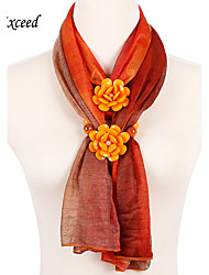 D Exceed New Charms Scarf Floral Pendant Scarf Jewelry Scarves Ployester Orange Scarf for Women Free Shipping
