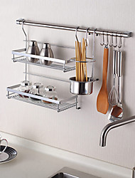 ChuYuWuXian Kitchen Utensil Organiser Hanger Tool Spice Rack Wall Mounted Chrome Finished Steel Rack K5 60cm