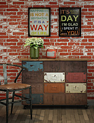 HaokHome®  Vintage Faux Stone Textured Wallpaper Rusty Red 3D Brick Realistic Paper Room Decoration Wall Covering