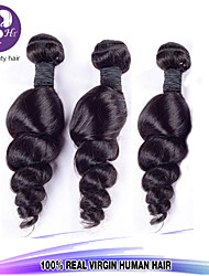 "3pcs/Lot 8""-30"" Mix Size Color #1B Malaysian Loose Wave Virgin Human Hair Extensions Bundles Thick & Soft"