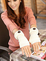 Women's Winter Lovely Add Long Sleeves And A Half Refers To Fashion Buttons Wool Knitting Fingerless Gloves