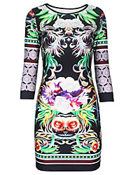 Women Bodycon Dress Floral Print Round Neck 3/4 Sleeve Bandage Evening Party Night Club Prom Dress