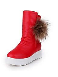 Women's Shoes Leatherette Flat Heel Snow Boots / Round Toe Boots Casual Black / Red / White