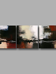 """Ready to Hang Stretched Hand-Painted Oil Painting 72""""x24"""" Three Panels Canvas Wall Art Modern Abstract Brown White Black"""