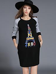 Women's Plus Size Fashion Autumn New Letters Printed Dress