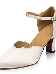 Non Customizable Women's Dance Shoes Latin Satin / Leather Cuban Heel Beige