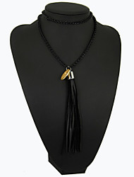Popular Contracted Fashion Long Leather Cord Tassel Pendantr Necklace KE21568