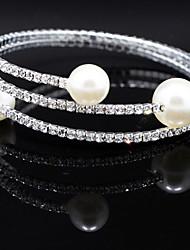 Charmes pour Bracelets / Bracelets Rigides / Bracelets de tennis / Bracelets Wrap 1pc,Argent Bracelet Perle / Strass Bijoux Femme