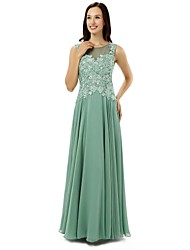 Sheath / Column Mother of the Bride Dress Floor-length Chiffon with Appliques / Lace