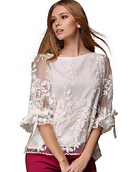 Women's Patchwork White Blouse , Round Neck ¾ Sleeve chiffon
