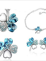 High Quality Crystal Silver Plated Clover Pendant Jewelry Set Necklace Earring (Random Plated Color)