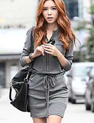 Women's Waisted Solid Gray Dress , Casual Round Neck Long Sleeve