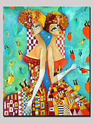 Hand-Painted Beauty Twin Girls Abstract Portrait Modern Oil Painting On Canvas With Frame Ready to Hang