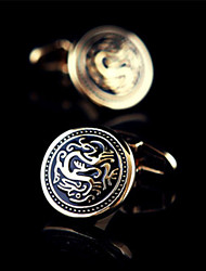Fashion Copper Men Jewelry Silver Round Dragon Black Enamel Delicate Button Cufflinks(1Pair)