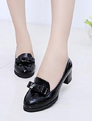 Women's Shoes Patent Leather Pumps Chunky Heel Comfort Fashion Party Bowknot Pointed Toe Heels
