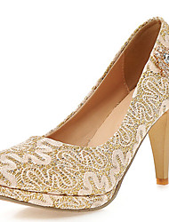 Women's Shoes Lace Stiletto Heel Heels / Round Toe Heels Wedding / Party & Evening Red / Silver / Gold