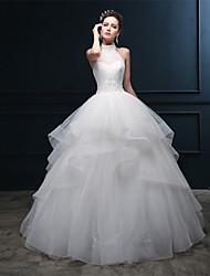 Ball Gown Wedding Dress - Ivory Floor-length Halter Tulle