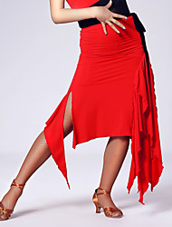 Imported Nylon Viscose with Draped Latin Dance Skirts for Women's Performance (More Colors)