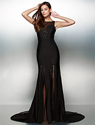 Formal Evening Dress - Black Trumpet/Mermaid Scoop Court Train Jersey