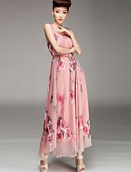 Women's Beach / Maxi Print A Line Dress , Round Neck Maxi Rayon