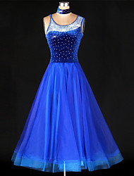 Ballroom Dance Dresses Women's Performance Spandex / Polyester Crystals/Rhinestones 2 Pieces Blue Modern Dance / Ballroom DanceDress /