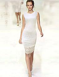 Women's Lace Lace Bodycon Dress , Round Neck Knee-length Cotton