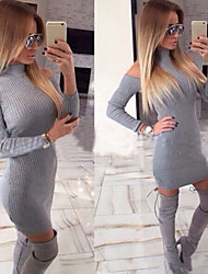 Muchen Women's Solid Color Gray Dresses , Sexy / Casual High-Neck / Off-the-shoulder Long Sleeve