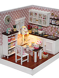 Creative Birthday Present Model Assembled Educational Toys DIY Wood Dollhouse Including All Furniture Lights Lamp LED